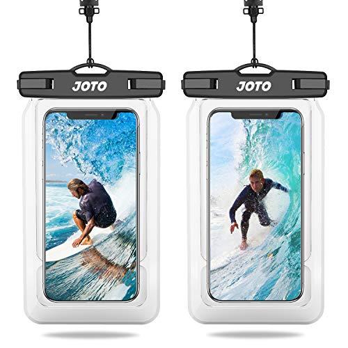 JOTO 2uds. Bolsa Impermeable Flotante Universal, IPX8 Funda Impermeable para iPhone 12 Pro MAX XS MAX XR X 8 7 Plus, Galaxy S20 Ultra S10 Plus S9, Note 10 9 para Piscina Playa Natación -Transparente