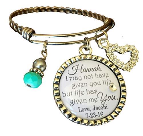 Step daughter gift, PERSONALIZED wedding gift, Personalized bracelet, WEDDING jewelry, step daughter wedding gift, step daughter bracelet, Bangle bracelet, blended family, charm bracelet