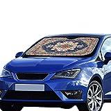 Car Winsheild Sun Shade Colorful Oriental Mosaic Rug Traditional Folk Polyester&aluminized Film Cushion For Maximum Uv & Sun Protection Cat Car Window Shade Foldable Keep Your Vehicle Cool 55x30 Inch