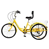 R.ROARING Adult Tricycles Three Wheel Trike Bike Cruiser 7 Speed, 24 inch Wheels, 3 Wheel Bicycles Cruise Trike with Cargo Basket for Seniors, Women, Men (Yellow)