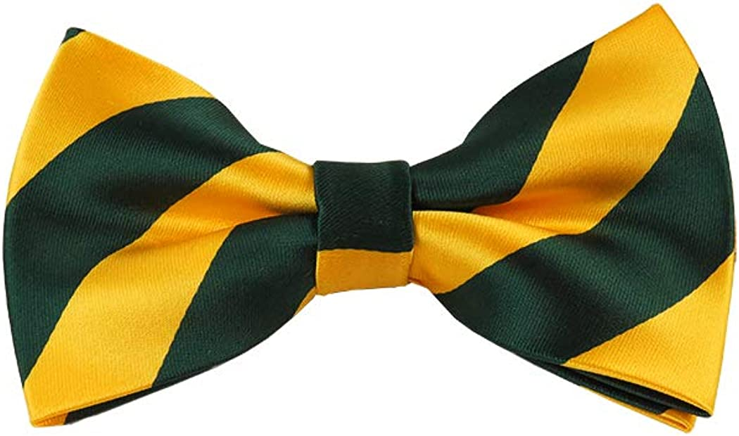 Forest Green and Gold College Stripe Pre-Tied Bow Tie