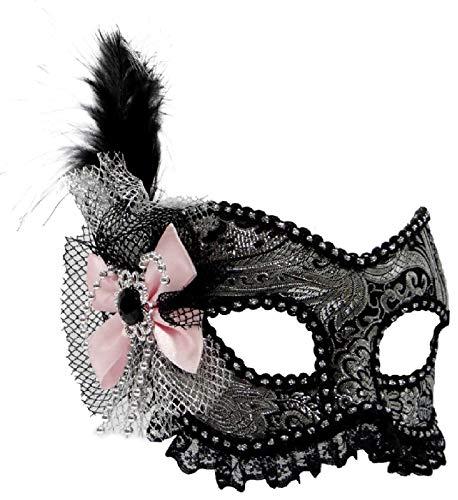 narrenkiste Oh5658 schwarz-Silber Damen Viktorianische-Venezianische-Barock-Rokoko Maske AVA