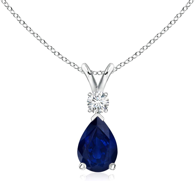 Blue Sapphire Super intense SALE Teardrop Spring new work Pendant Diamond 7x5mm with