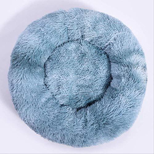 KIFFAY Big Orthopedic Dog Bed Comfortable Doughnut Round Washable Deep Sleep Calming Dog Beds For Large Dog Medium Dogs and Cat Supply Gris Azul/L 80cm