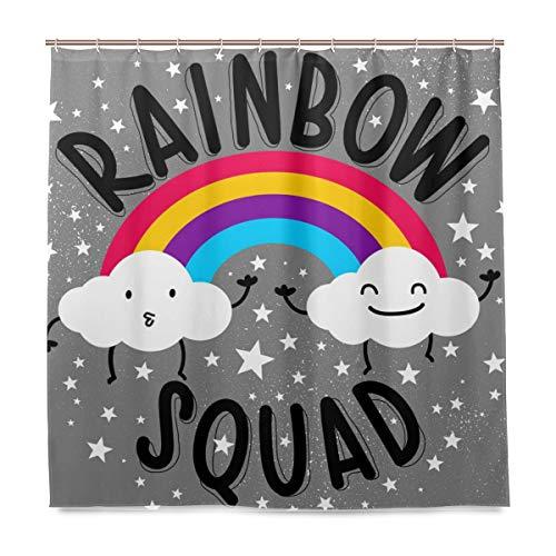 BALII Bali Duschvorhang Regenbogen & Zwei kleine Wolken 183 x 183 cm Polyester wasserdicht mit 12 Haken für Badezimmer