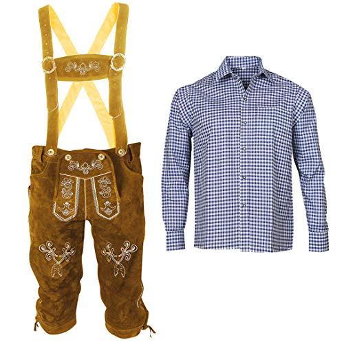 Herren Trachten Set Lederhose mit Trägern + Trachten Hemd Bayerische Oktoberfest (Hose + Hemd) BLB02 (Lederhose 52 + Hemd XL)