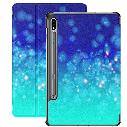 Funda Galaxy Tablet S7 Plus de 12,4 Pulgadas 2020 con Soporte para bolígrafo S, Fondo Azul Abstracto como Burbujas de Agua Funda Protectora Tipo Folio con Soporte Delgado para Samsung
