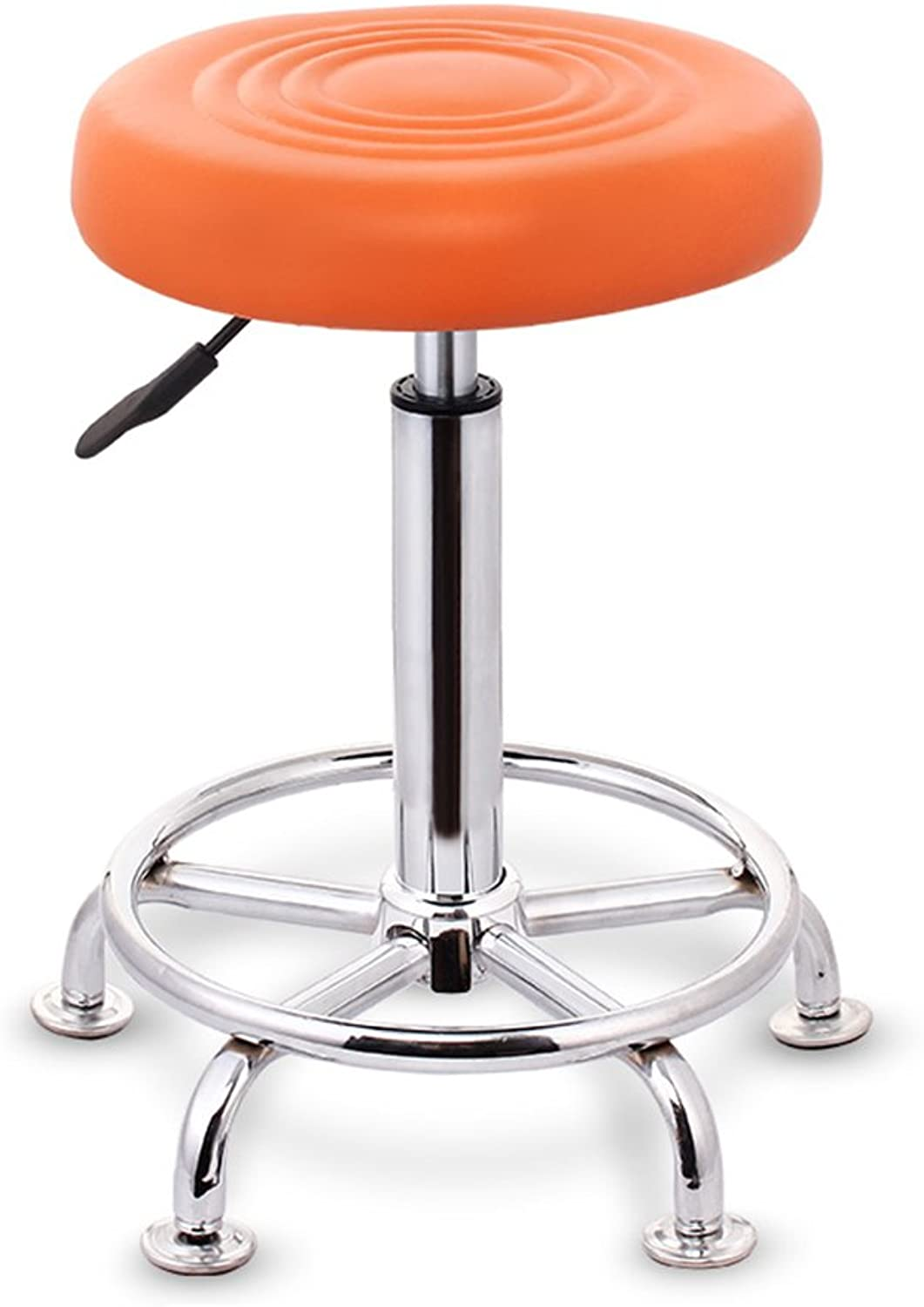 GJM Shop Bar Stools PU Bar Stools Kitchen Stools Breakfast Gas Strut Adjustable Seat Height 43 to 58cm Easy to Move (color   orange)