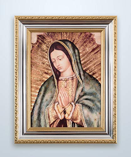 Marcos de Fe Cuadro Virgen de Guadalupe Imagen Virgen Clásica Moldura Color Oro/Plata Brillante – 40×50…