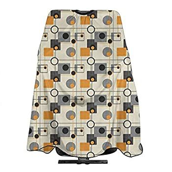 AUISS Haircut Apron Orange And Green Mod Professional Salon Waterproof Barber Cape Light Adjustable Neckline Perfect For Hairstylists 55  X 66