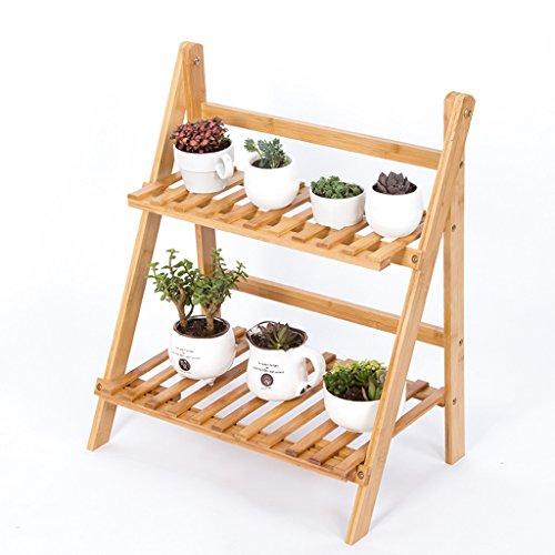 LYQZ Jardinières Pliantes de Bambou de 2 rangées, Pot de Fleur d'usine
