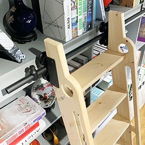 YDYFC Kit de la Puerta corredera de la Pista de la Escalera 33ft-20ft - Completo de Hardware (sin Escalera) Tubo Redondo Pista de Escalera móvil para Inicio/Indoor/Loft/Library - Hierro Forjado Negro