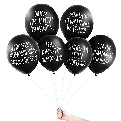 Pechkeks Anti-Party-Ballons, schwarze Luftballons mit schrägen Sprüchen, Willkommens-Set, schwarz