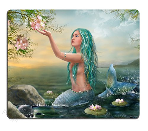 Gaming Mouse Pad Custom,Mermaid in The Sunset with Green Hair Lilies Personalized Design Non-Slip Rubber Mousepad
