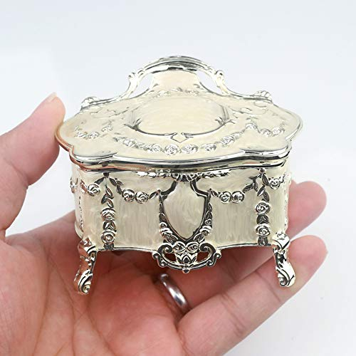 ROSIKING Emboss Alloy Metal Music Box Wind Up Movement Music Box for spouses,Friends and Children on Christmas and Valentine's Day (Boutique Embossed Metal Music Box A, Tune;Brahms Lullaby)