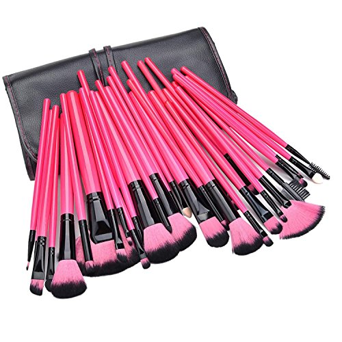 Minetom 32 Pinceaux Maquillage Kit de Maquillage Professionnel Cosmétiques Set + Sac Housse PINK