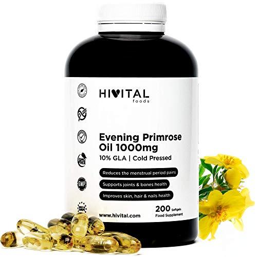 Aceite de Onagra 1000 mg con 10% Omega 6 GLA | 200 perlas de Aceite Natural Prensado en frio (Más de 6 meses de suministro) | Reduce los dolores menstruales y mantiene los huesos, piel y uñas sanos