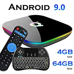 【Android 9.0 OS】: EVANPO Smart TV Box Comes with newest android 9.0 OS, Quad-core ARM Cortex-A53 CPU which is the most professional Quad core CPU performance for networking Android box and Mali-T720MP2 GPU, it has a better compatibility of software, ...