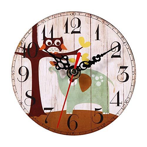 7 Tipos de Reloj de Pared de Madera Antiguo Reloj de Pared Antiguo Creativo Relojes Redondos de Madera de Estilo Vintage Decoración de Oficina en casa[#1]