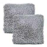 YOUR SMILE Pack of 2, Decorative Plush Luxury Series Merino Faux Fur Throw Pillow Case Cushion Cover 18' x 18'(Gray)