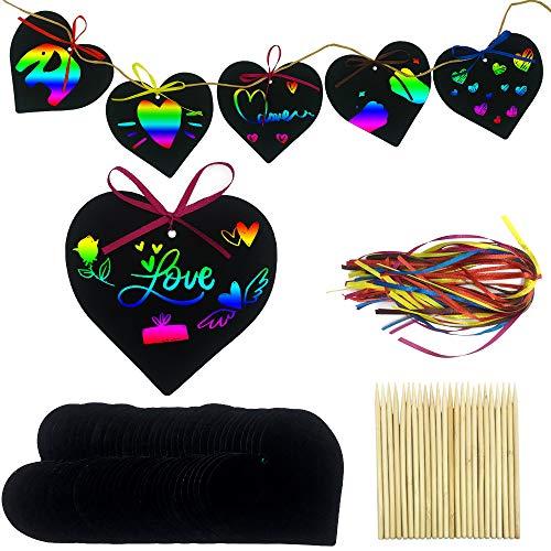 Aviski Scratch Art para Niños48 Pcs, Arte con Arcoíris en Forma de Corazón, con Lápices y Cintas de Madera para Niños, Artes Decorativas y Manualidades, Boda del Día de San Valentín