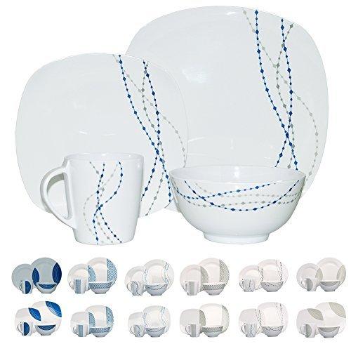 Hekers NEU Melamin Geschirr 16-teilig für 4 Personen (Design/Farbdesign wählbar) (Weiß/Blau Line Quadratisch)