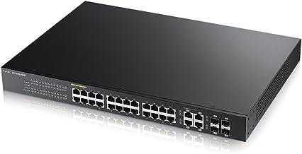 Zyxel Gigabit Switch PoE+ inteligente de 24 puertos con 375 vatios y 4 puertos combo Gigabit [GS1920-24HP]