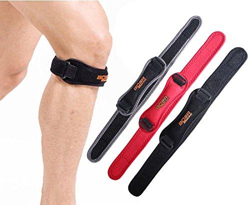 Urvoix Rotule Sangle, bande réglable Pad pour le genou pour la rotule tendon support pour course à pied Pull de tennis de basket-ball, Noir (One Piece)