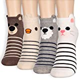 Naive Face Animal Character Women's Stripe Casual Sneakers Ankle Socks (Onesize, 4 Pairs) -  Dani's Choice
