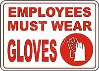 Must Wear Gloves 金属板ブリキ看板警告サイン注意サイン表示パネル情報サイン金属安全サイン
