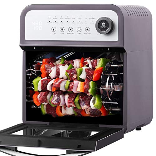 Geek Chef Air Fryer Oven 12 Quart Large Capacity with Rotisserie and Dehydrator All in One Multi-Function Healthy Fryer with 16 preset Modes, 8 Cooking Accessories Kits and Cooking Recipe