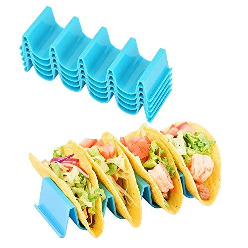 Luckieuor Taco-Halterung, 5 Stück, Kunststoff, Taco-Schalen-Halterung, Teller, Truck-Tablett, spülmaschinenfest, Blau