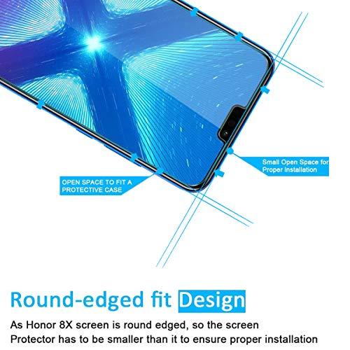 NEW'C PanzerglasFolie Schutzfolie für Huawei Honor 8X, [2 Stück] Frei von Kratzern Fingabdrücken und Öl, 9H Härte, HD Displayschutzfolie, 0.33mm Ultra-klar,kompatibelHuawei Honor 8X - 3