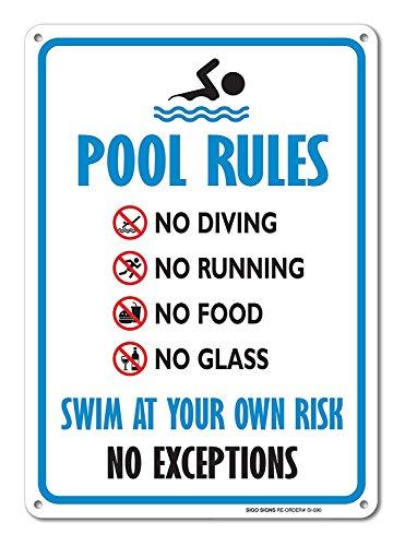 NIUMEA Pool–Schwimmbad Rule Aluminium Metall Schild groß 15,2x 22,9cm