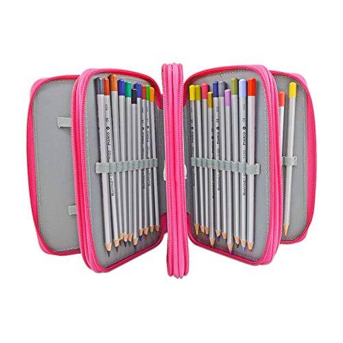 Tracker Color Pencil, 72-Slot Pencil case 4 Layer 4 Zipper Pen Bag Large Art case Multi-Layer Pencil case Storage Box Pencil case Pen Holder Fixed Pencil case Child Adult (Red)