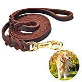 Leather Dog Leash Braided 4ft/6ft Heavy Duty Training for Large Medium Small Breed Dog Brown Standard Pet Leashes (4FT 1/2', Brown)