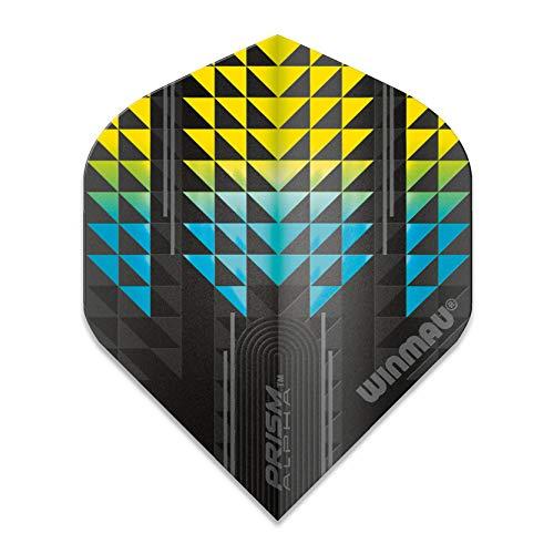 WINMAU Prism Alpha Negro y Amarillo Vuelos Dart - 1 Juego por Paquete (3 vuelos en Total)