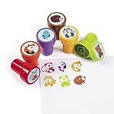 cama24com Kinderstempel Stempel Fuchs Igel Bär Vogel Waschbär Eichhörnchen Mitgebsel 6 Stück mit Palandi® Sticker
