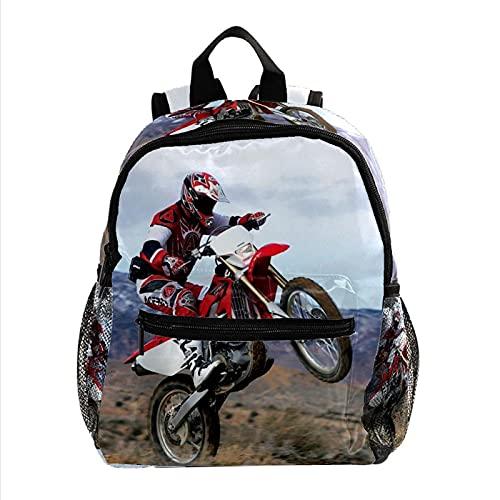 Mochila para Niños Motos de Motocross (25) Mochila para Infantil impresión Mochila Escolar Impermeable Backpack Bolsa para la Escuela para niños y niñas 3-8 años 25.4x10x30CM