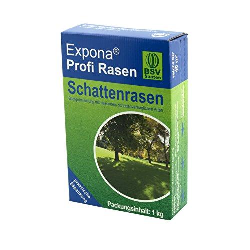 Schattenrasen EXPONA Profi Rasen - Rasensaat für 40m² zur Einsaat und Nachsaat - RSM 7.4 - schnelle Keimung - dichter und saftiger Rasen im Schatten - 1kg 40m²