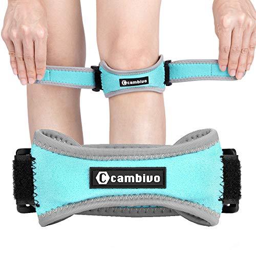 CAMBIVO 2 x Patella Kniebandage, Knieband, verstellbare Patella Band für Damen und Herren beim Sport, Wandern, Fitness, Volleyball (Meeresblau)