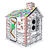 IREENUO Cardboard Playhouse, Kids Playhouse for Indoor Outdoor, Box Fort for Boys and Girls ( Best for Ages 3 and Up)