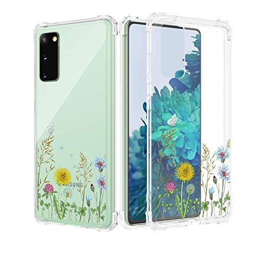 Caka Samsung Galaxy S20 FE 5G Case Clear Flowers Floral Design for Girls Women Girly Slim Soft TPU Transparent Protective Case Cover for Samsung Galaxy S20 FE 5G 6.5 inches (Wildflower)