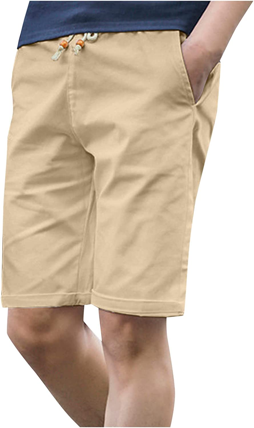Fashion Summer Men's Casual Solid Elastic Waist Shorts Five-Point Pants Washed Sport Beach Pants