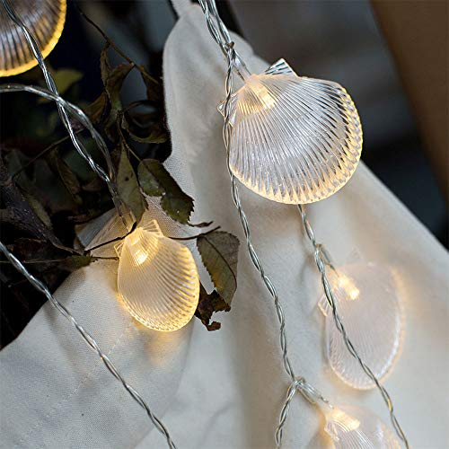 Shell String Light, Beach Theme Dreamy Fairy Lights 9.8ft 20 LEDs Decoration Lights for Bedroom Home Decor Battery Powered