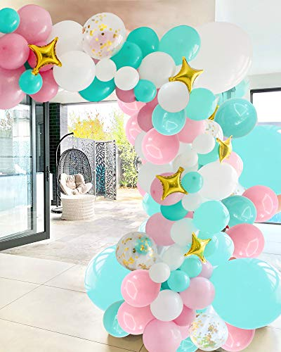 Balloon Arch Kit Pink Blue White Gold 102pcs Helium Balloon Garland Kit with Golden Star Foil Balloons 16ft Tape Stripe Glue Dots for Girls Birthday Wedding Baby Shower Gender Reveal Party Decoration