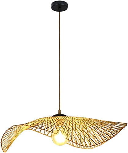 WENYAO Lustre à Une tête Nouvelle Lampe de Suspension Japonaise en Bambou créatif Japonais Asie du Sud-Est Lampe de Plafond en Bambou et rougein Restaurant Bar Salon de thé Club (Taille  S)