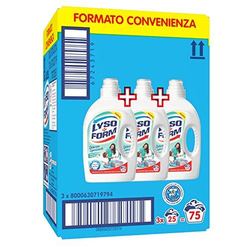 Lysoform Detersivo Igienizzante per Bucato, Freschezza Fiorita 25 Lavaggi x3
