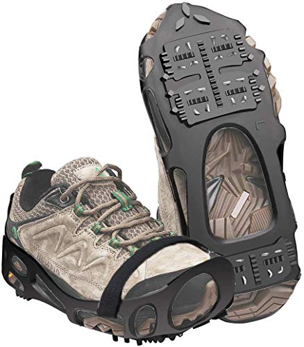DWS Ice Cleats Walk Traction Cleat 24 Spikes Non-Slip Over Shoe Rubber Snow Grippers Crampons Stretch Footwear for Walking on Snow and Ice S