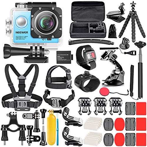 Neewer G1 Ultra HD 4K Action Camera Kit (Blue): 98 ft Underwater Waterproof Cam 16MP 4K/30FPS 170 Degree Wide Angle WiFi Sport Cam High-tech Sensor with Remote/Battery and 50-in-1 Accessory Kit